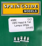 Springside DA4 WHITE - OO Scale  LMS Head & Tail Lamps White (5)
